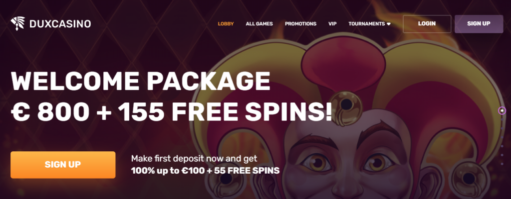 Duxcasino welcome bonus and freespins