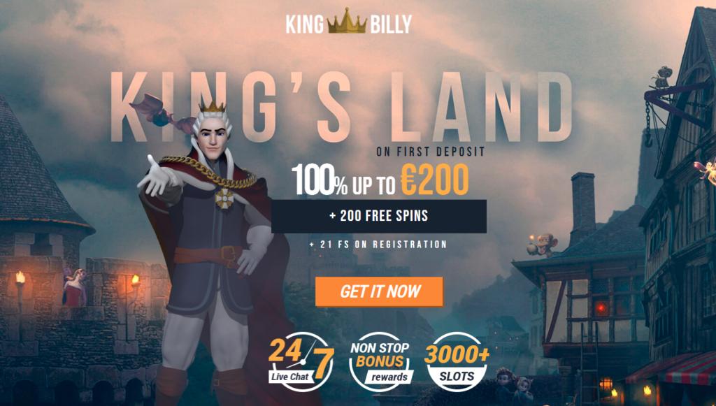 21 Freespins no deposit at Kingbilly