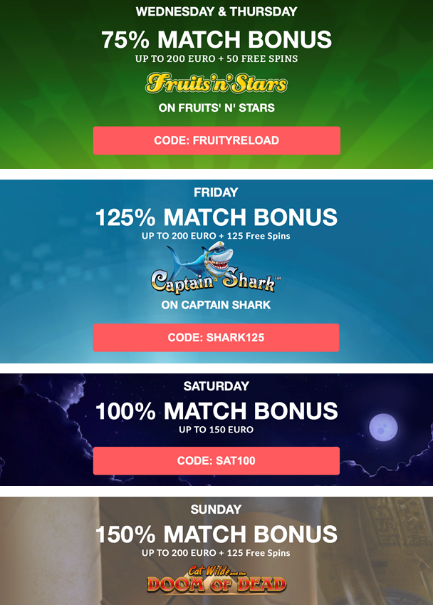 Daily Bonuses at Madmoneycasino