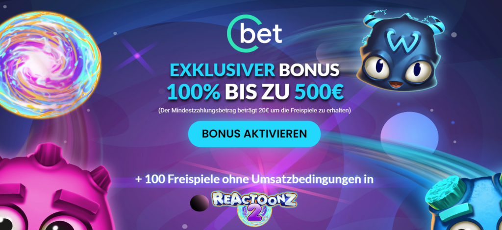 CBet exclusive welcome offer with wagerfree Freespins