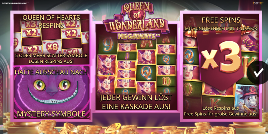 Queen of Wonderland Megaways Splash Screen