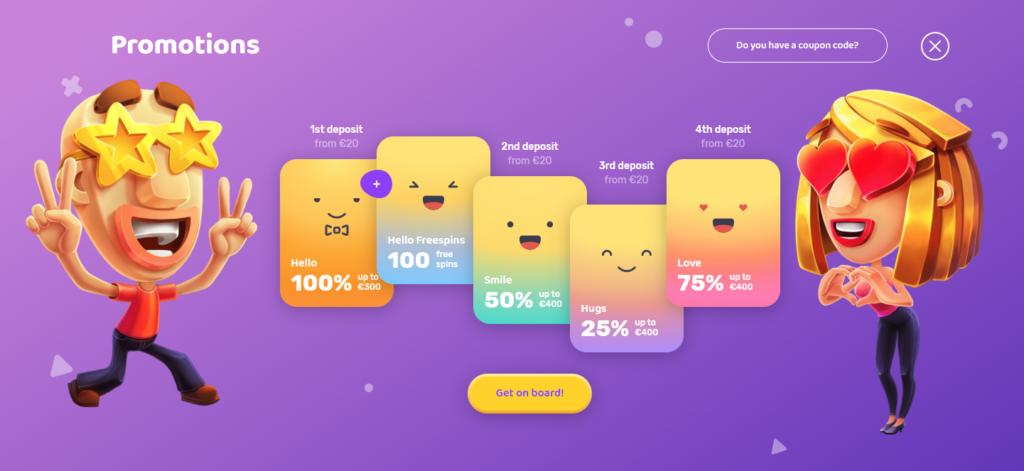 Emojino Welcome Bonus of 1500€ + 100 Freespins
