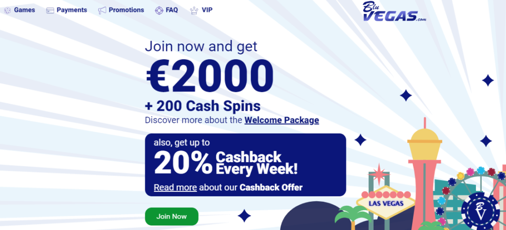 Bluvegas Welcome Bonus with Cash Spins