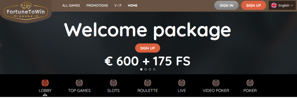 FortuneToWin Casino Welcome Bonus