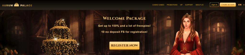 Aurumpalace 10 Freespins no deposit