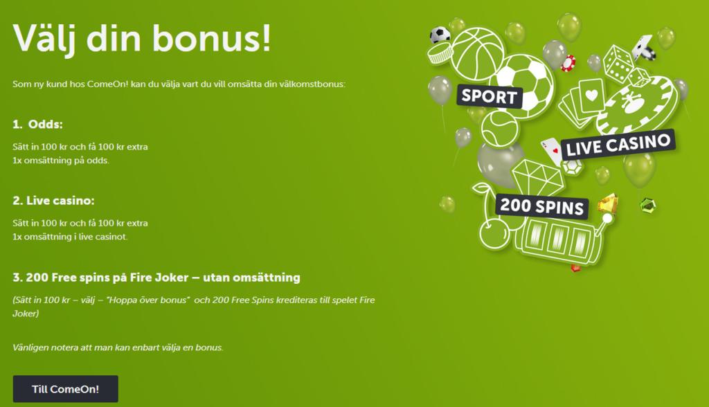 Welcome Bonus for Comeon! Sweden