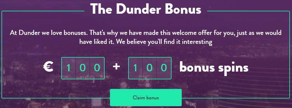 Dunder Welcome Bonus and Freespins