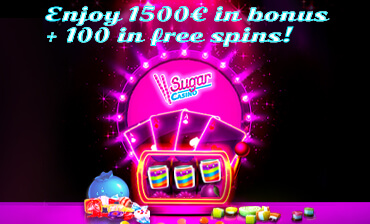 Welcome Bonus with 100 wagerfree Freespins at Sugarcasino