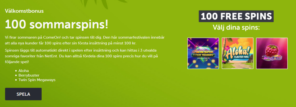 Comeon Sweden - Welcome Bonus 100 Freespins
