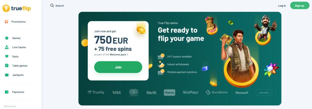 Trueflip.com Freespins Welcome Bonus